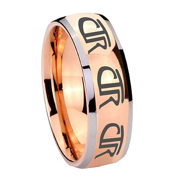 8mm Multiple CTR Dome Rose Gold Tungsten Carbide Men's Wedding Band