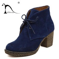 Women Platform Ankle Boots Round Toe Lace-Up Genuine Leather Boots