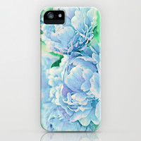 Blue Mist Peonies iPhone & iPod Case by Lisa Argyropoulos