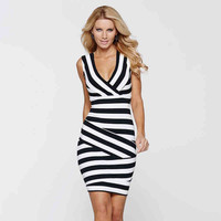 Wrap Stripe Sleeveless Bodycon Dress