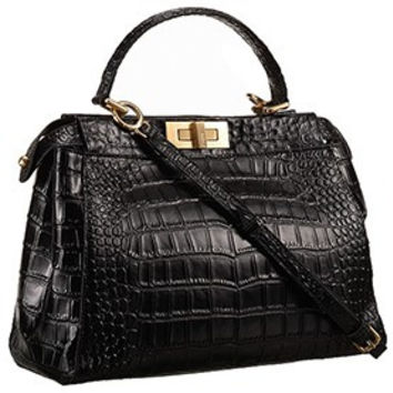 Fendi Small Peekaboo Black Leather Bag 608298
