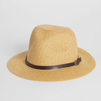 panama hat with faux leather band in natural | maurices