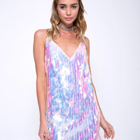 Luna Slip Dress in Opal Unicorn Sequin Pink by Motel