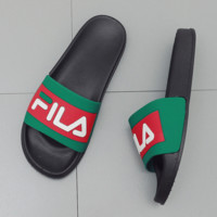 FILA Casual Fashion Women Men Print Sandal Slipper Shoes Green G