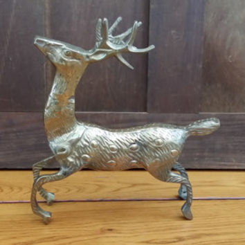 Vintage Brass Reindeer Deer Buck Figure Statue Great Woodland Decor