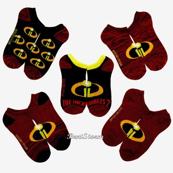Licensed cool Disney Pixar The Incredibles 2 No-Show Ankle Socks 5 Pair Family Logo Licensed