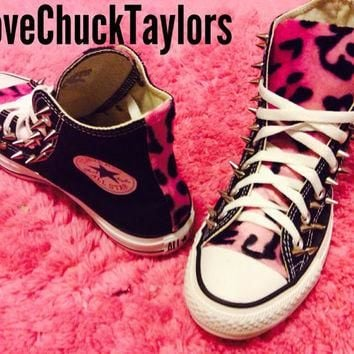 Custom Converse Pink Leopard Faux Fur Spiked Chuck Taylor All Star Shoe