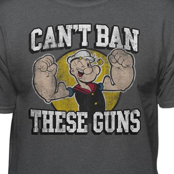 Popeye The Sailor Man Can't Ban These Guns Men's Vintage Short Sleeve T-Shirt
