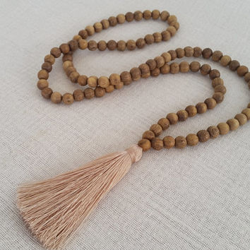 Wooden bead necklace - Long  wood bead tassel necklace with taupe tassel  - Natural wooden beads with a pale taupe tassel
