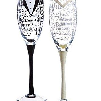 Cypress Home HandPainted 8 oz Bride and Groom Wedding Champagne Toasting Flute Glasses Set of 2  Metallic Accents  675rdquoW x 4rdquoD x 11rdquoH