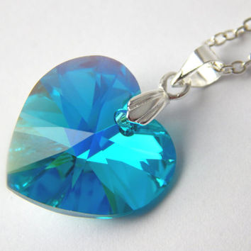 Swarovski Crystal Heart Necklace Blue Zircon Aurora Borealis Charm Pendant Silver Wedding Love Gothic Christmas Gift