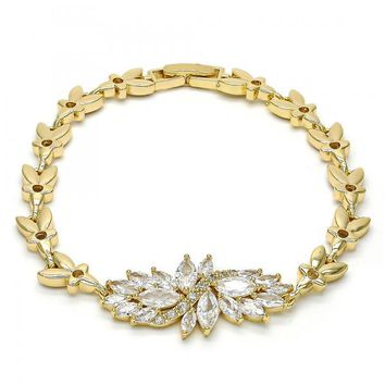 Gold Layered Fancy Bracelet, Leaf Design, with Cubic Zirconia, Golden Tone