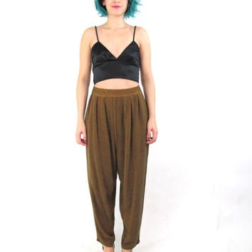 80s Slouchy Draped Harem Pants Hippie Boho High Waist Drop Crotch Yoga Pants Soft Rayon Trousers Genie Dusty Brown Mustard Pants (L/XL)