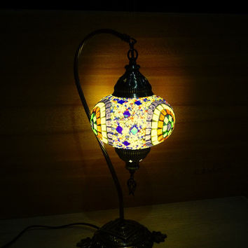 Handmade unique swan neck Turkish glass mosaic decorative colourful table lamp, bedroom night lamp, bedside lamp, livingroom night lamp.