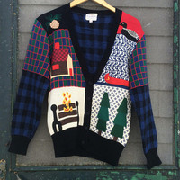 Vintage 90's UNIQUE Hand embroidered novelty knit sweater cardigan camping Fall CUTE embroidery sweater size S small
