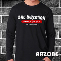 One Direction Shirt 1D Where We Are Long Sleeved Printed Black Color Unisex Size - AR58