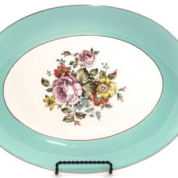 Cunningham & Pickett Danube Serving Platter, Aqua Robins Egg Blue and Floral Platter, Cottage Chic Style