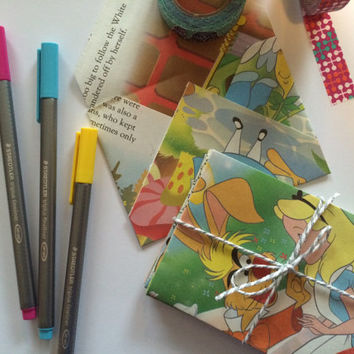 Alice in Wonderland Mini Upcycled Envelopes - Set of 10 - Includes Cardstock  Lunchbox Notes - Disney Wedding - Valentines - Anniversary