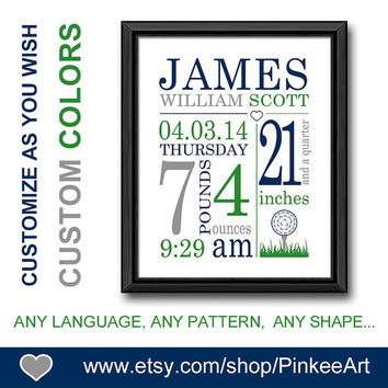 boy birth details print golf theme baby birth date print personalized new baby gifts newborn print baby sign birth stats print baby keepsake