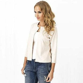 Solid Cardigan Blazers Women Fashion No-Breasted No-Collar Casual Suits