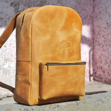Genuine leather backpack, ginger backpack, backpack for men, model P008. 100% hand-made