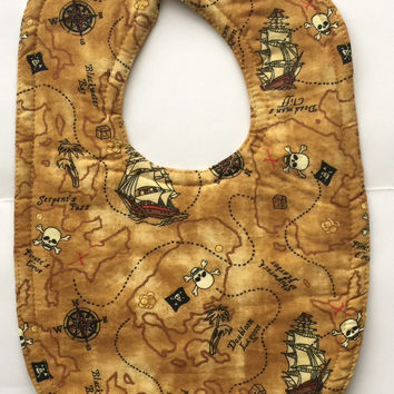 Baby bib baby boy pirate baby boy layette baby shower brown map infant feeding drool bib cotton bib nautical baby unisex baby bib baby girl