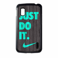 Nike Just Do It Wood Colored Darkwood Wooden Fdl Nexus 4 Case