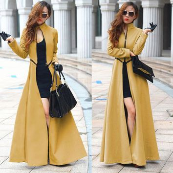 Autumn Winter Long Cashmere Trench Coat Street Fashion Open fork Slim Solid Coat Women Cloth