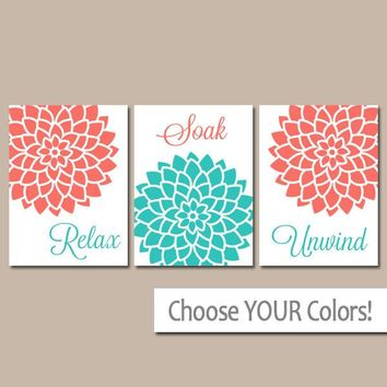 Bathroom Decor, Turquoise CORAL BATHROOM Wall Art, Flower Canvas or Print, Flower Burst Art, Relax Soak Unwind, Bath Quotes, Set of 3