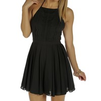 Sale-black Halter Pleated Dress