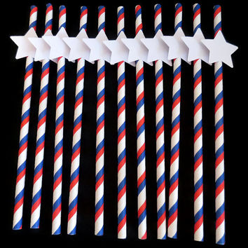 patriotic party straws, 4th of July decorations, Independence Day, Americana, summer picnic decor, 10 pieces, military wedding