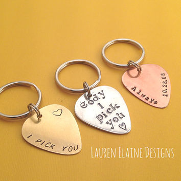 Custom Hand Stamped Guitar Pick Keychains- You Personalize- In Aluminum, Brass, and Copper