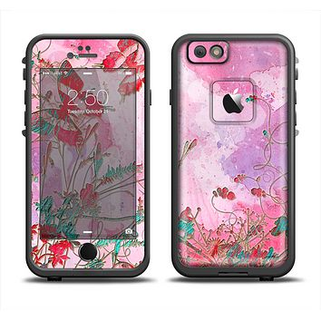 The Pink Bright Watercolor Floral Apple iPhone 6 LifeProof Fre Case Skin Set