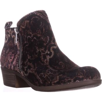 Lucky Brand Basel Side Zip Ankle Boots, Black Multi Paisly, 9 US / 39 EU