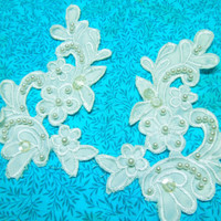 Set of 2 White Vintage Embroidered lace yokes appliques for bridal, wedding, clothing, altered couture, baby, bridal by MarlenesAttic