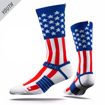 Strideline® 2.0 YOUTH Uncle Sam USA Flag Stars Stripes Red White Blue Crew Socks