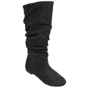 Journee Collection Womens Regular Sized and Wide-Calf Mid-Calf Slouch Riding Boots Black 6