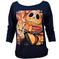 "Women's ""Jack Celebrates"" Unfinished Oversized Sweatshirt by Lowbrow Art Company (Black)"