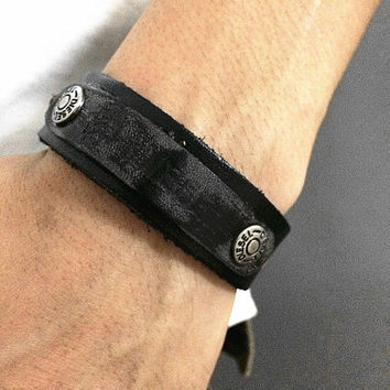 Real Black Soft Leather DIESEL Bracelet Women's Leather Bangle Bracelet, Men's Leather Cuff Bracelet, Unisex Leather Bracelet  CB6
