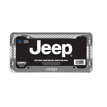 Chrome Diamond Jeep License Plate Frame