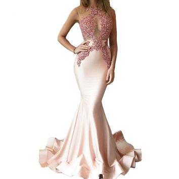 Sexy See Through Trumpet/Mermaid Jewel Sleeveless Natural Backless Stretch Satin Prom Dresses 2017 L