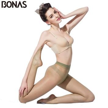 BONAS Transparent Tights Women 15D Nylons Thin Pants Spring T Crotch Sexy Pantyhose Fashion Solid Design Slim Female