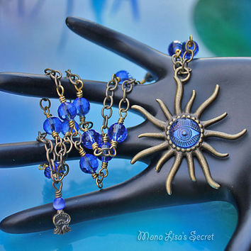 Sapphire Blue Sun Necklace, Sapphire Blue and Brass Necklace, Sun Pendant, Celestial Jewelry, Blue Evil Eye, Summer Necklace