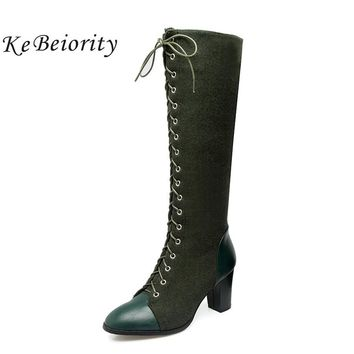 KEBEIORITY Fashion Knee High Boots Women High Heels Booties Lace Up Autumn Winter Western Black Green Boots Plus Size 33-48