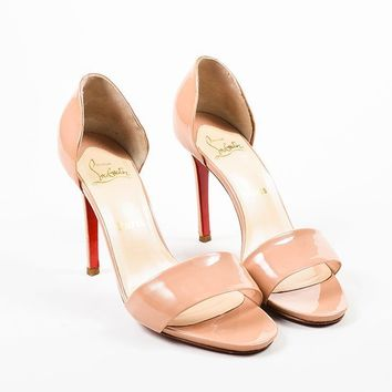 DCCK ?Christian Louboutin Nude Taupe Patent D  Orsay  Passmule  Sandal Heels