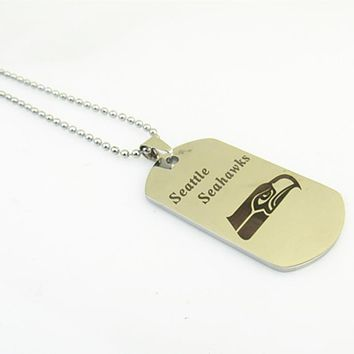 Fashion Silver Stainless Steel Sport Seattle Seahawks Football Team Logo Dog Tag Necklace Pendants For Women and Men Fans Gifts