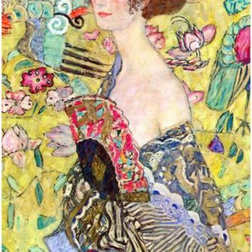 Gustav Klimt Lady with Fan Art Print Poster