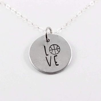 Basketball Love Necklace - Sterling Silver