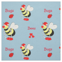 Cute Whimsy Busy Bees And Bugs Hearts Fabric