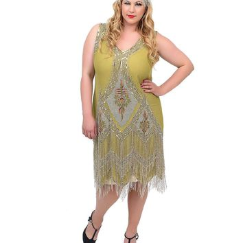 Unique Vintage Plus Size Green & Silver Embroidered Somerset Flapper Dress
